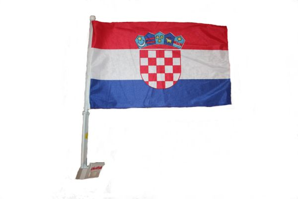 "CROATIA 12"" X 18"" INCHES COUNTRY HEAVY DUTY WITH STICK CAR FLAG .. NEW AND IN A PACKAGE"