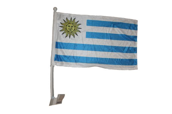 "URUGUAY 12"" X 18"" INCHES COUNTRY HEAVY DUTY WITH STICK CAR FLAG .. NEW AND IN A PACKAGE"