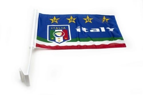 "ITALY 4 STARS 12"" X 18"" INCHES FIGC LOGO FIFA SOCCER WORLD CUP HEAVY DUTY WITH STICK CAR FLAG .. NEW AND IN A PACKAGE"