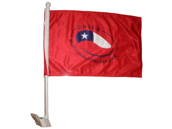 "CHILE SELECCION NACIONAL DE FUTBOL 12"" X 18"" INCHES FIFA SOCCER WORLD CUP FLAG HEAVY DUTY WITH STICK CAR FLAG .. NEW AND IN A PACKAGE"