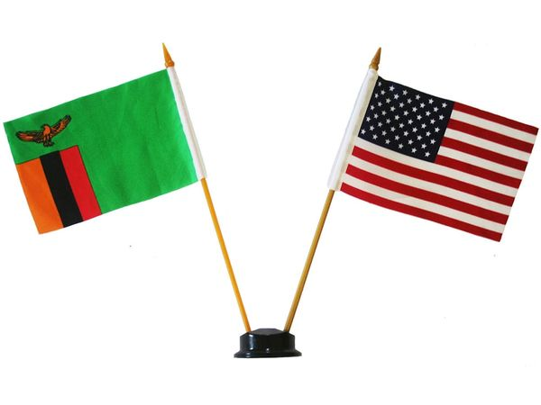 "ZAMBIA & USA SMALL 4"" X 6"" INCHES MINI DOUBLE COUNTRY STICK FLAG BANNER ON A 10 INCHES PLASTIC POLE .. NEW AND IN A PACKAGE"