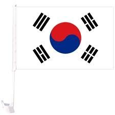 """SOUTH KOREA 12"""" X 18"""" INCHES COUNTRY FLAG HEAVY DUTY WITH STICK CAR FLAG .. NEW AND IN A PACKAGE"""