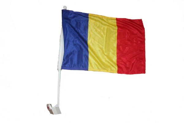 "ROMANIA 12"" X 18"" INCHES COUNTRY FLAG HEAVY DUTY WITH STICK CAR FLAG .. NEW AND IN A PACKAGE"
