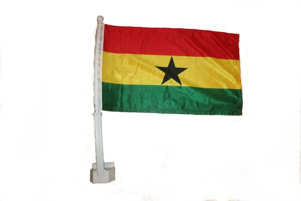 """GHANA 12"""" X 18"""" INCHES COUNTRY FLAG HEAVY DUTY WITH STICK CAR FLAG .. NEW AND IN A PACKAGE"""