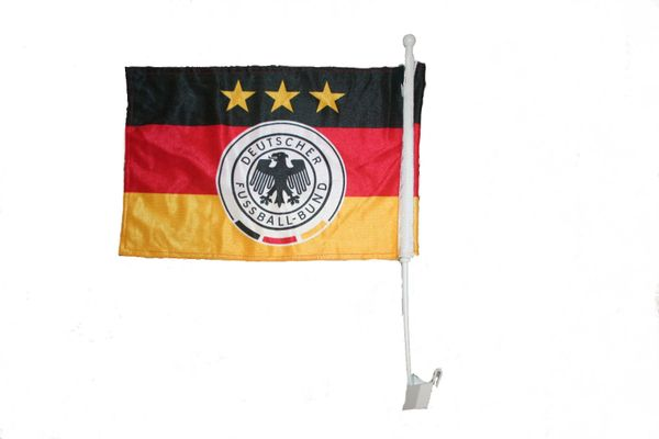 "GERMANY 3 STARS 12"" X 18"" INCHES DEUTSCHER FUSSBALL - BUND FLAG HEAVY DUTY WITH STICK CAR FLAG .. NEW AND IN A PACKAGE"