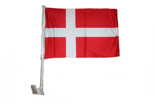 """DENMARK 12"""" X 18"""" INCHES COUNTRY HEAVY DUTY WITH STICK CAR FLAG .. NEW AND IN A PACKAGE"""