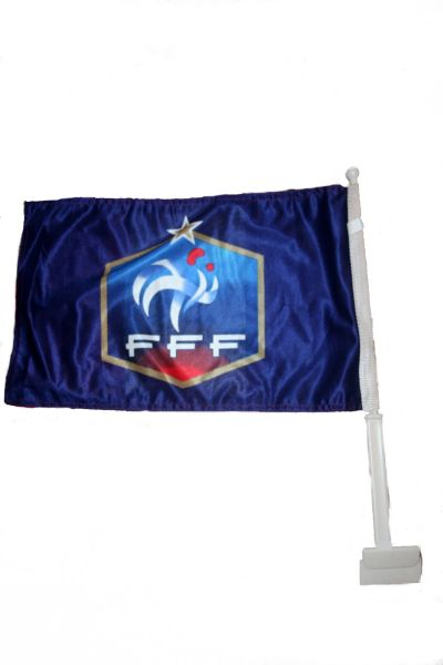 "FRANCE 12"" X 18"" INCHES FFF LOGO FIFA SOCCER WORLD CUP HEAVY DUTY WITH STICK CAR FLAG .. NEW AND IN A PACKAGE"