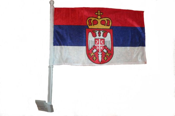 "SERBIA 12"" X 18"" INCHES COUNTRY HEAVY DUTY WITH STICK CAR FLAG .. NEW AND IN A PACKAGE"