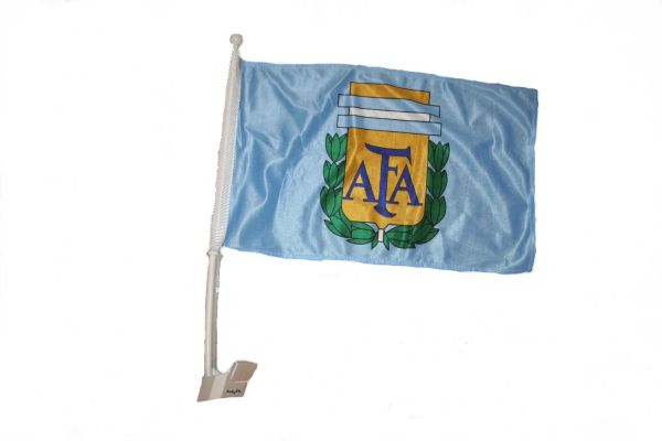 "ARGENTINA 12"" X 18"" INCHES AFA LOGO FIFA SOCCER WORLD CUP HEAVY DUTY WITH STICK CAR FLAG .. NEW AND IN A PACKAGE"