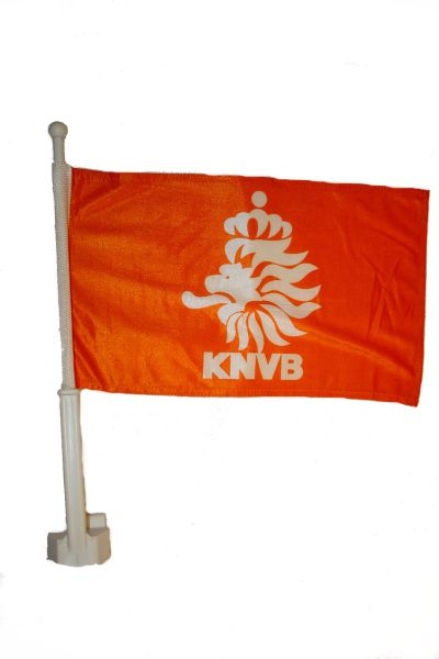 "NETHERLANDS HOLLAND 12"" X 18"" INCHES KNVB LOGO FIFA SOCCER WORLD CUP HEAVY DUTY WITH STICK CAR FLAG .. NEW AND IN A PACKAGE"