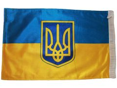 "UKRAINE WITH TRIDENT 12"" X 18"" INCHES COUNTRY HEAVY DUTY WITH SLEEVE WITHOUT STICK CAR FLAG .. NEW AND IN A PACKAGE"