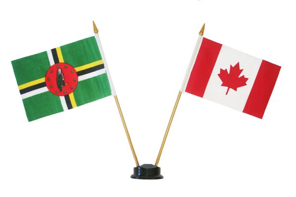 """DOMINICA & CANADA SMALL 4"""" X 6"""" INCHES MINI DOUBLE COUNTRY STICK FLAG BANNER ON A 10 INCHES PLASTIC POLE .. NEW AND IN A PACKAGE"""