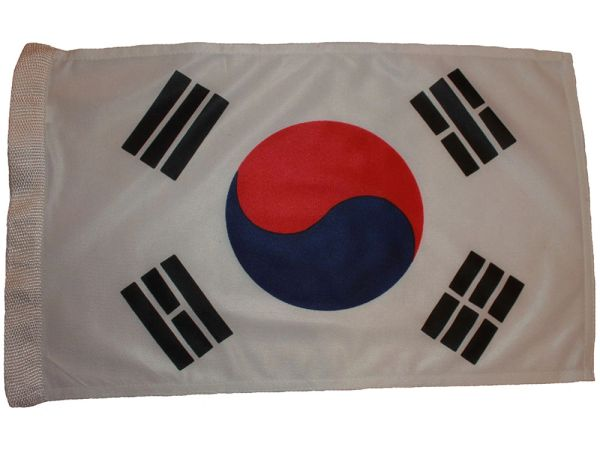 "SOUTH KOREA 12"" X 18"" INCHES COUNTRY HEAVY DUTY WITH SLEEVE WITHOUT STICK CAR FLAG .. NEW AND IN A PACKAGE"