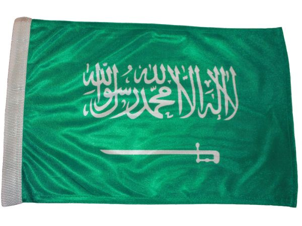 """SAUDI ARABIA 12"""" X 18"""" INCHES COUNTRY HEAVY DUTY WITH SLEEVE WITHOUT STICK CAR FLAG .. NEW AND IN A PACKAGE"""