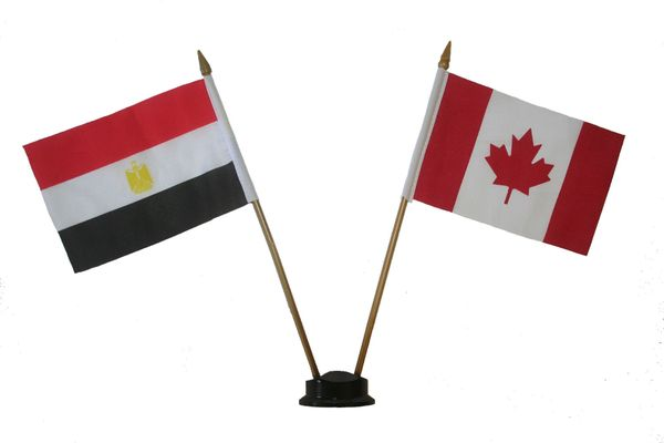 "EGYPT & CANADA SMALL 4"" X 6"" INCHES MINI DOUBLE COUNTRY STICK FLAG BANNER ON A 10 INCHES PLASTIC POLE .. NEW AND IN A PACKAGE"