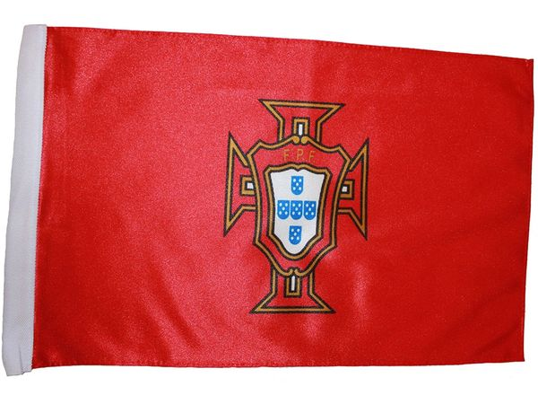 "PORTUGAL RED 12"" X 18"" INCHES FPF LOGO FIFA SOCCER WORLD CUP HEAVY DUTY WITH SLEEVE WITHOUT STICK CAR FLAG .. NEW AND IN A PACKAGE"