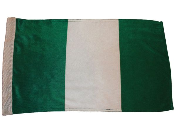 "NIGERIA 12"" X 18"" INCHES COUNTRY HEAVY DUTY WITH SLEEVE WITHOUT STICK CAR FLAG .. NEW AND IN A PACKAGE"