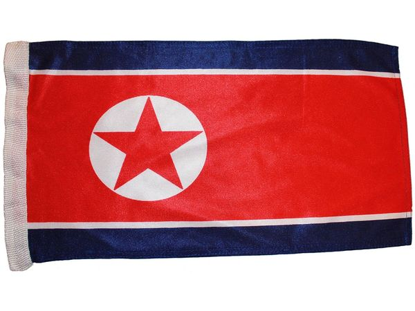 "KOREA NORTH 12"" X 18"" INCHES COUNTRY HEAVY DUTY WITH SLEEVE WITHOUT STICK CAR FLAG .. NEW AND IN A PACKAGE"