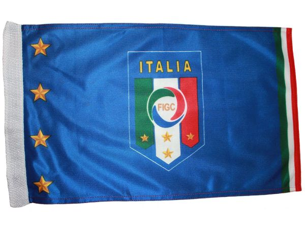 "ITALIA ITALY 4 STARS 12"" X 18"" INCHES FIGC LOGO FIFA SOCCER WORLD CUP HEAVY DUTY WITH SLEEVE WITHOUT STICK CAR FLAG .. NEW AND IN A PACKAGE"