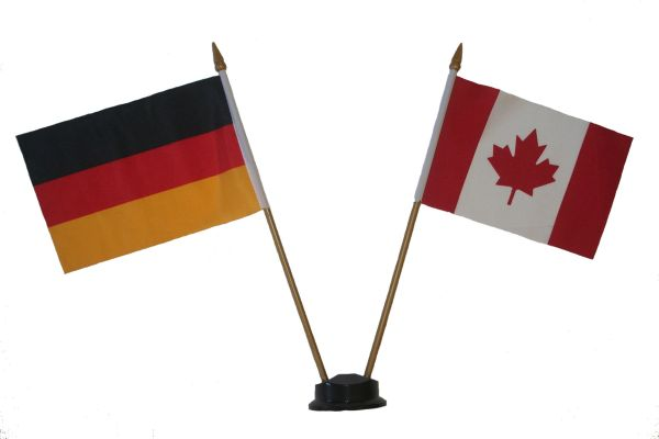 "GERMANY & CANADA SMALL 4"" X 6"" INCHES MINI DOUBLE COUNTRY STICK FLAG BANNER ON A 10 INCHES PLASTIC POLE .. NEW AND IN A PACKAGE"