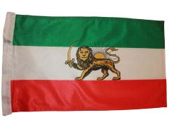 "IRAN OLD PERSIAN LION 12"" X 18"" INCHES COUNTRY HEAVY DUTY WITH SLEEVE WITHOUT STICK CAR FLAG .. NEW AND IN A PACKAGE"