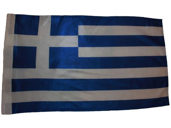 "GREECE HELLAS 12"" X 18"" INCHES COUNTRY HEAVY DUTY WITH SLEEVE WITHOUT STICK CAR FLAG .. NEW AND IN A PACKAGE"