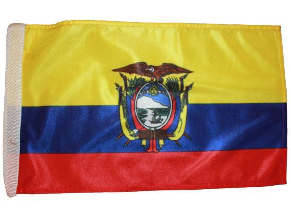 """ECUADOR 12"""" X 18"""" INCHES COUNTRY HEAVY DUTY WITH SLEEVE WITHOUT STICK CAR FLAG .. NEW AND IN A PACKAGE"""