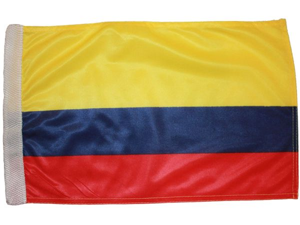 "COLOMBIA 12"" X 18"" INCHES COUNTRY HEAVY DUTY WITH SLEEVE WITHOUT STICK CAR FLAG .. NEW AND IN A PACKAGE"