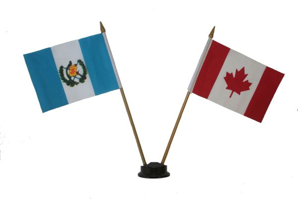 "GUATEMALA & CANADA SMALL 4"" X 6"" INCHES MINI DOUBLE COUNTRY STICK FLAG BANNER ON A 10 INCHES PLASTIC POLE .. NEW AND IN A PACKAGE"