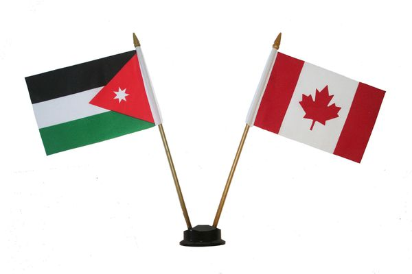 "JORDAN & CANADA SMALL 4"" X 6"" INCHES MINI DOUBLE COUNTRY STICK FLAG BANNER ON A 10 INCHES PLASTIC POLE .. NEW AND IN A PACKAGE"