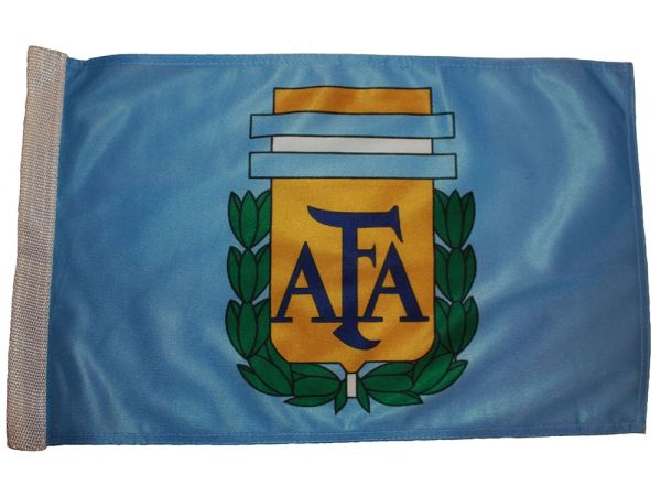 "ARGENTINA 12"" X 18"" INCHES AFA LOGO FIFA SOCCER WORLD CUP HEAVY DUTY WITH SLEEVE WITHOUT STICK CAR FLAG .. NEW AND IN A PACKAGE"