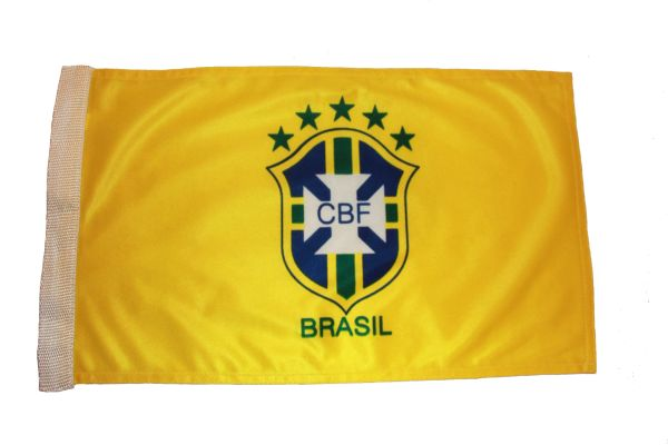 "BRASIL 5 STARS 12"" X 18"" INCHES CBF LOGO FIFA SOCCER WORLD CUP HEAVY DUTY WITH SLEEVE WITHOUT STICK CAR FLAG .. NEW AND IN A PACKAGE"
