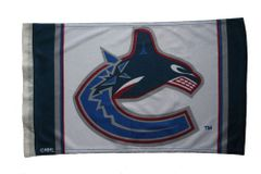 "VANCOUVER CANUCKS 12"" X 18"" INCHES NHL HOCKEY LOGO HEAVY DUTY WITH SLEEVE WITHOUT STICK CAR FLAG .. NEW AND IN A PACKAGE"