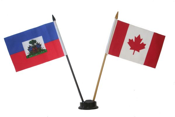 """HAITI & CANADA SMALL 4"""" X 6"""" INCHES MINI DOUBLE COUNTRY STICK FLAG BANNER ON A 10 INCHES PLASTIC POLE .. NEW AND IN A PACKAGE"""