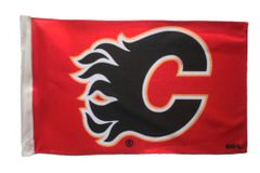 "CALGARY FLAMES 12"" X 18"" INCHES NHL HOCKEY LOGO HEAVY DUTY WITH SLEEVE WITHOUT STICK CAR FLAG .. NEW AND IN A PACKAGE"