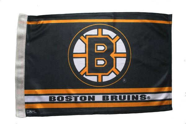 "BOSTON BRUINS 12"" X 18"" INCHES NHL HOCKEY LOGO HEAVY DUTY WITH SLEEVE WITHOUT STICK CAR FLAG .. NEW AND IN A PACKAGE"