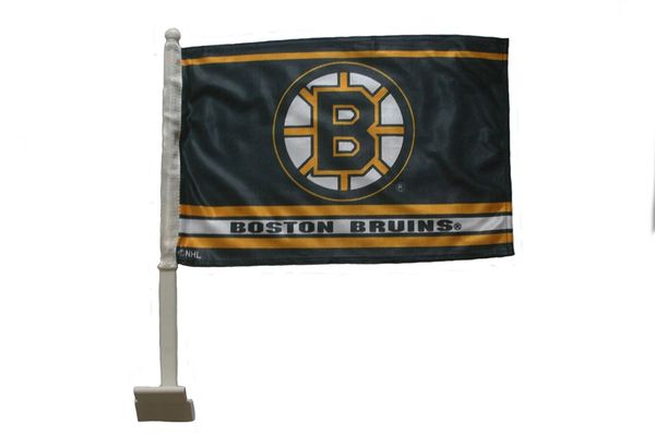 "BOSTON BRUINS 12"" X 18"" INCHES NHL HOCKEY LOGO HEAVY DUTY WITH STICK CAR FLAG .. NEW AND IN A PACKAGE"