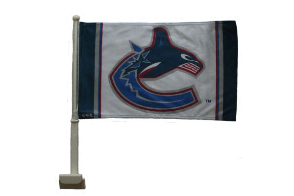 "VANCOUVER CANUCKS 12"" X 18"" INCHES NHL HOCKEY LOGO HEAVY DUTY WITH STICK CAR FLAG .. NEW AND IN A PACKAGE"