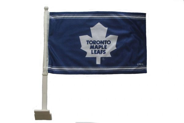 "TORONTO MAPLE LEAFS 12"" X 18"" INCHES NHL HOCKEY LOGO HEAVY DUTY WITH STICK CAR FLAG .. NEW AND IN A PACKAGE"