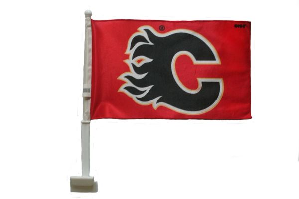 "CALGARY FLAMES 12"" X 18"" INCHES NHL HOCKEY LOGO HEAVY DUTY WITH STICK CAR FLAG .. NEW AND IN A PACKAGE"
