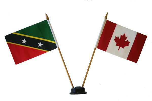 "ST. KITTS - NEVIS & CANADA SMALL 4"" X 6"" INCHES MINI DOUBLE COUNTRY STICK FLAG BANNER ON A 10 INCHES PLASTIC POLE .. NEW AND IN A PACKAGE"