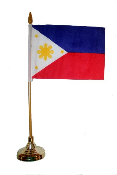 "PHILIPPINES 4"" X 6"" INCHES MINI COUNTRY STICK FLAG BANNER WITH GOLD STAND ON A 10 INCHES PLASTIC POLE .. NEW AND IN A PACKAGE."