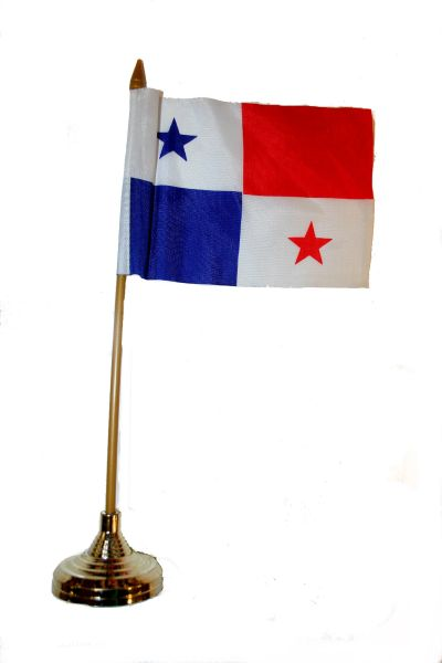 "PANAMA 4"" X 6"" INCHES MINI COUNTRY STICK FLAG BANNER WITH GOLD STAND ON A 10 INCHES PLASTIC POLE .. NEW AND IN A PACKAGE."