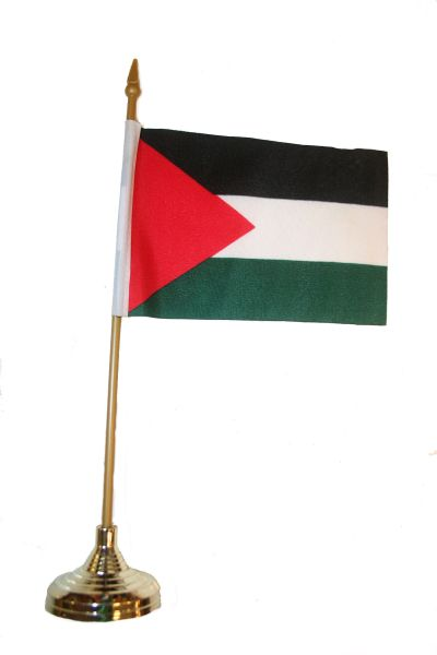 "PALESTINE 4"" X 6"" INCHES MINI COUNTRY STICK FLAG BANNER WITH GOLD STAND ON A 10 INCHES PLASTIC POLE .. NEW AND IN A PACKAGE."