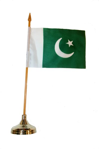 "PAKISTAN 4"" X 6"" INCHES MINI COUNTRY STICK FLAG BANNER WITH GOLD STAND ON A 10 INCHES PLASTIC POLE .. NEW AND IN A PACKAGE."