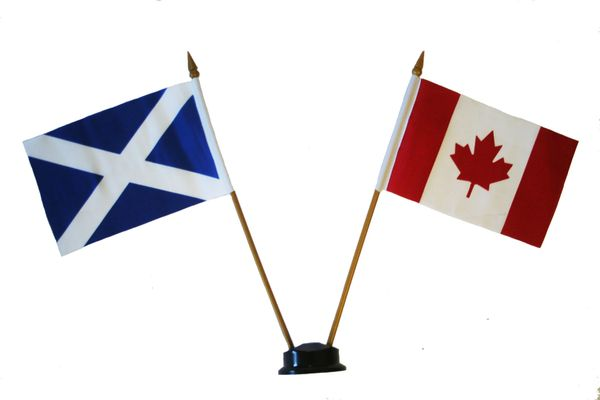 "SCOTLAND - ST. ANDREW & CANADA SMALL 4"" X 6"" INCHES MINI DOUBLE COUNTRY STICK FLAG BANNER ON A 10 INCHES PLASTIC POLE .. NEW AND IN A PACKAGE"
