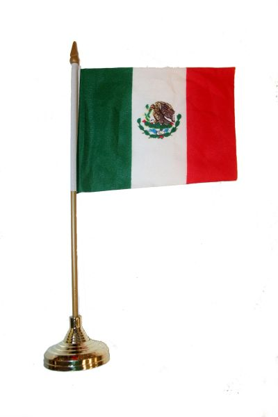 "MEXICO 4"" X 6"" INCHES MINI COUNTRY STICK FLAG BANNER WITH GOLD STAND ON A 10 INCHES PLASTIC POLE .. NEW AND IN A PACKAGE."