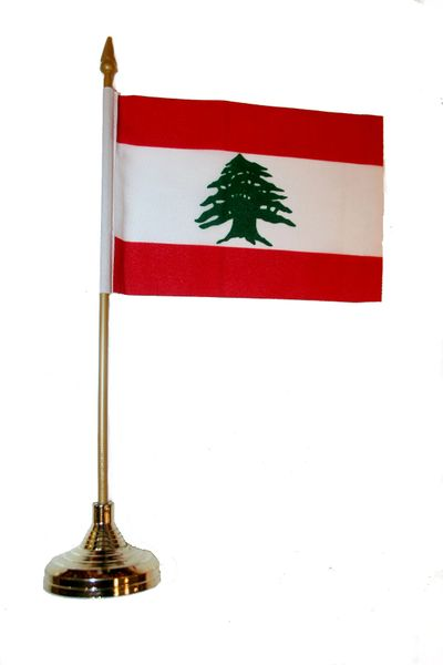 "LEBANON 4"" X 6"" INCHES MINI COUNTRY STICK FLAG BANNER WITH GOLD STAND ON A 10 INCHES PLASTIC POLE .. NEW AND IN A PACKAGE."