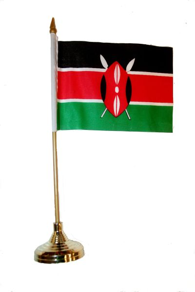"KENYA 4"" X 6"" INCHES MINI COUNTRY STICK FLAG BANNER WITH GOLD STAND ON A 10 INCHES PLASTIC POLE .. NEW AND IN A PACKAGE."