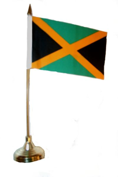 """JAMAICA 4"""" X 6"""" INCHES MINI COUNTRY STICK FLAG BANNER WITH GOLD STAND ON A 10 INCHES PLASTIC POLE .. NEW AND IN A PACKAGE."""